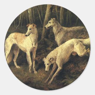 Vintage Animals, Greyhound Dogs in the Forest Classic Round Sticker
