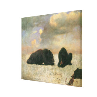 Vintage Animals, Grizzly Bears by Albert Bierstadt Stretched Canvas Print