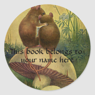 Vintage Animals, Love Roamnce Field Mice Bookplate Classic Round Sticker