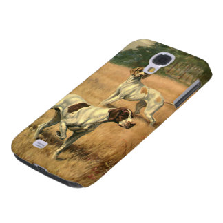 Vintage Animals, Pointer Dogs Hunting in a Field Samsung Galaxy S4 Cases