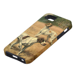 Vintage Animals, Pointer Dogs Hunting in a Field iPhone 5 Case