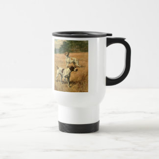 Vintage Animals, Pointer Dogs Hunting in a Field Coffee Mug