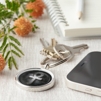 Vintage Ankh Symbol Key of Life Design Silver-Colored Round Key Ring