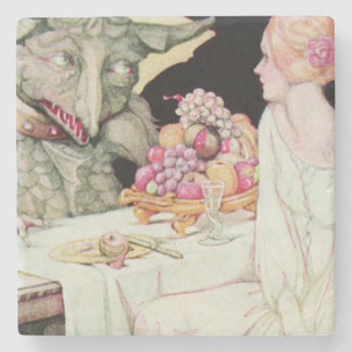Vintage Anne Anderson Beauty and Beast Stone Coaster