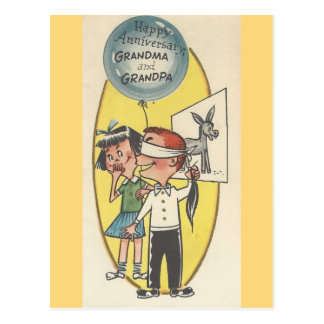 Vintage Anniversary For Grandma And Grandpa Postcard