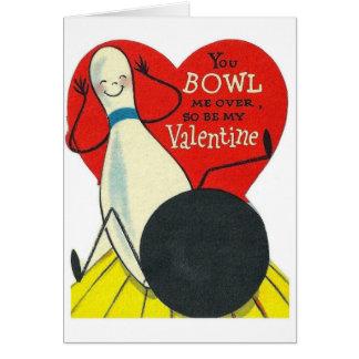 Vintage Anthropomorphic Bowling Valentine Card
