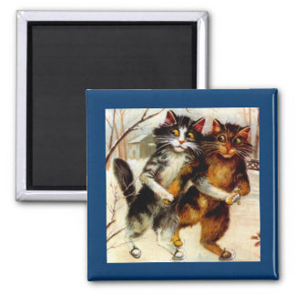 VINTAGE ANTHROPOMORPHIC SET OF SKATING CATS MAGNET