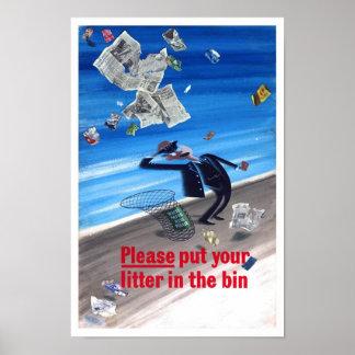 Vintage Anti Litter Poster Print