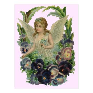 Vintage Antique Angel Floral Soft Pink Postcard