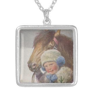 Vintage Antique Art Bay Pony Child Gift Necklace