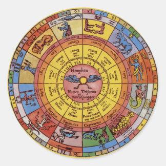 Vintage Antique Astrology, Celestial Zodiac Wheel Classic Round Sticker