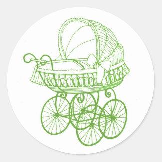 Vintage Antique Baby Pram Sticker in Green