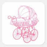 Vintage Antique Baby Pram Sticker in Pink