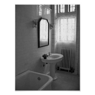 Vintage Antique Bathroom Black And White Photo Poster