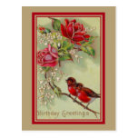 Vintage antique birthday greetings, robins, roses postcards