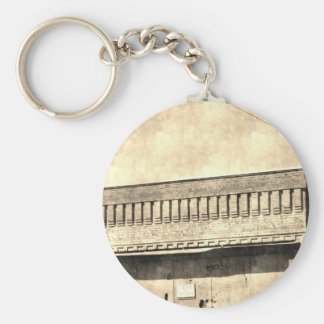 Vintage Antique Building Basic Round Button Key Ring