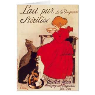 Vintage Antique Cats Girl Milk Theophile Steinlen Card