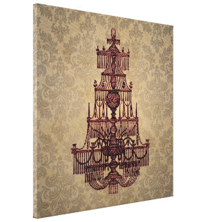 Vintage antique chandelier on grunge Damask Canvas Print