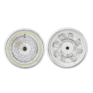 Vintage Antique Circular Slide Rule Cuff Links