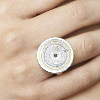 Vintage Antique Circular Slide Rule Photo Ring