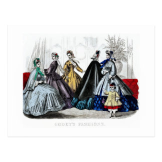 Vintage antique civil war era ladies' fashion ad postcard