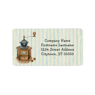 Vintage Antique Coffee Grinder Address Label