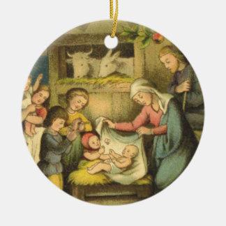 Vintage Antique-Design Nativity Christmas Ornament