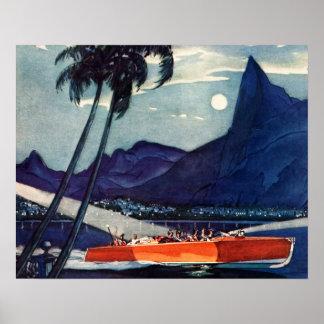 Vintage Antique Dodge Motor Boat Lycoming Sea Poster