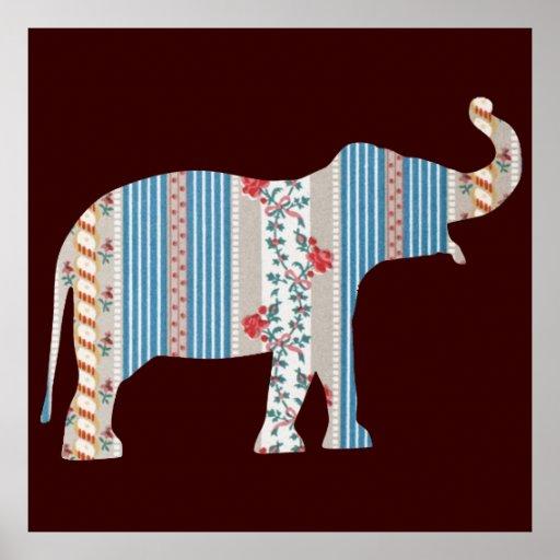 Vintage Antique Elephant Pattern Wallpaper Floral Posters