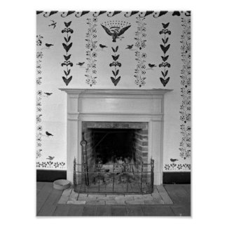 Vintage Antique Fireplace Black And White Photo Poster