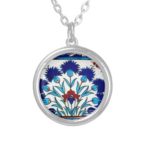 Vintage Antique Floral Abstract Turkish tiles Custom Necklace