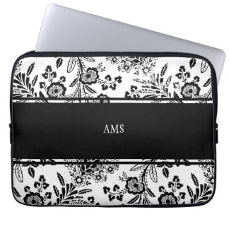 Vintage Antique Floral Custom Monogram Black White Laptop Sleeve