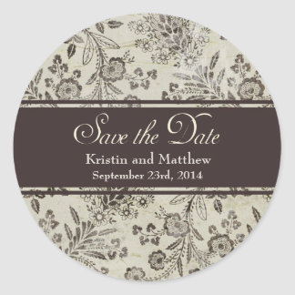 Vintage Antique Floral Save the Date Personalized Classic Round Sticker