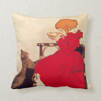 Vintage Antique Girl Cat Theophile Steinlen Animal Cushion