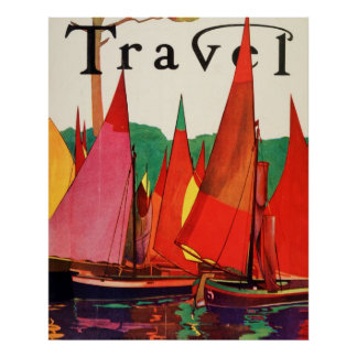 Vintage Antique Italy Travel Magazine Fishing Poster