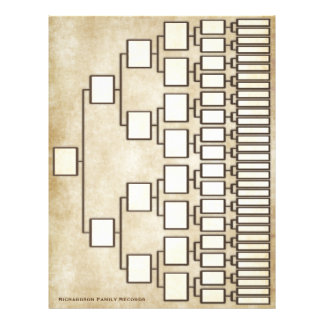 Vintage Antique Look Genealogy Lineage Sheet 21.5 Cm X 28 Cm Flyer