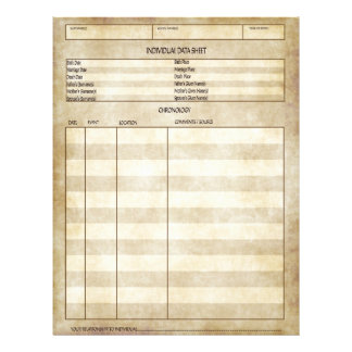 Vintage Antique Look Individual Data Sheet 21.5 Cm X 28 Cm Flyer