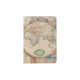 Vintage Antique Map of the Hemispheres Passport Holder