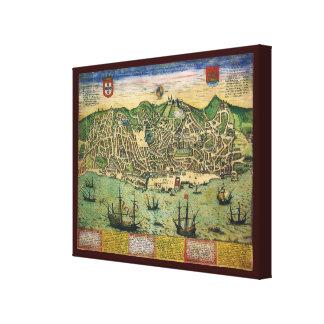 Vintage Antique Map; Town Plan of Lisbon, 1598 Gallery Wrap Canvas