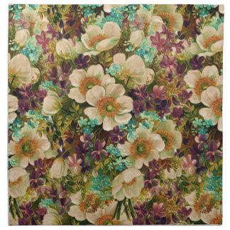 Vintage Antique Mixed Floral Cloth Napkins