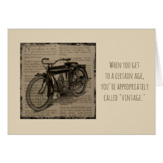 Vintage Antique Motorcycle Over Hill Birthday Card