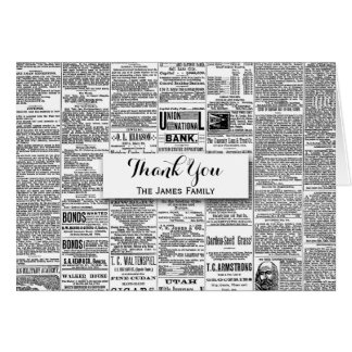 Vintage Antique Newspaper Personalized Name Card