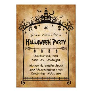 Vintage Antique Old Paper - Spooky Halloween Party 13 Cm X 18 Cm Invitation Card