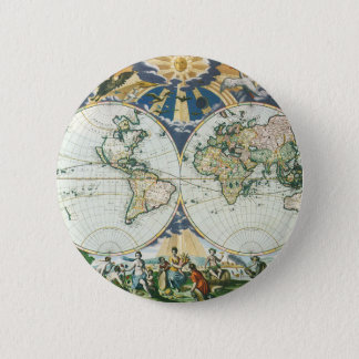 Vintage Antique Old World Map, 1666 by Pieter Goos 6 Cm Round Badge