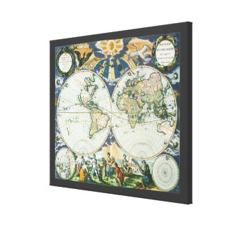 Vintage Antique Old World Map, 1666 by Pieter Goos Gallery Wrapped Canvas