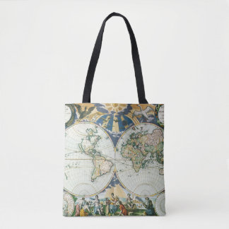 Vintage Antique Old World Map, 1666 by Pieter Goos Tote Bag