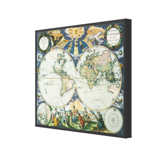 Vintage Antique Old World Map by Pieter Goos, 1666 Gallery Wrapped Canvas