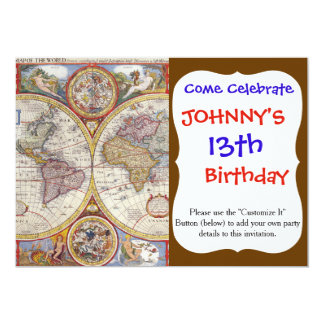 Vintage Antique Old World Map cartography 13 Cm X 18 Cm Invitation Card