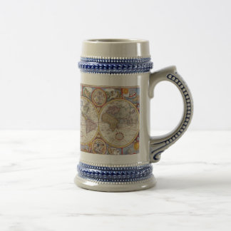 Vintage Antique Old World Map cartography Beer Stein