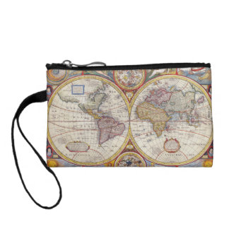 Vintage Antique Old World Map cartography Coin Purses